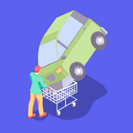 Man is carrying a shopping cart with compact car. The redhead man wants to buy a green electric car in isometric.