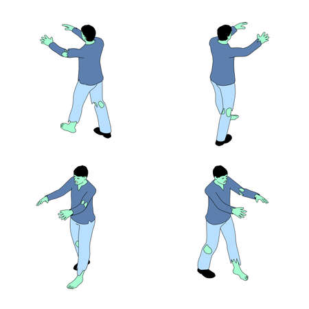 Zombie in isometric view with an outline. Zombie with green skin on white background in different angles.
