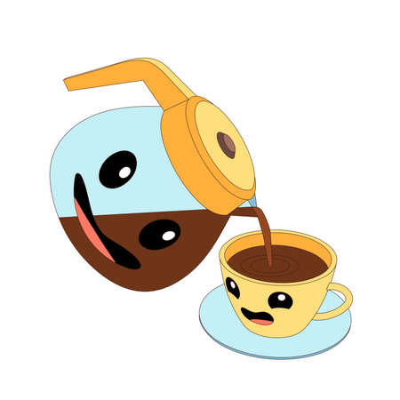 Cartoon jug and cup with coffee. Jug is pouring coffee into a cup, Jug and cup are emoji.