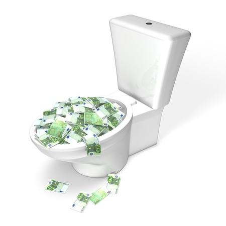 Euro Money in the Toilet Stock Photo