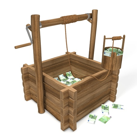 water well: Euro Money in water well Stock Photo