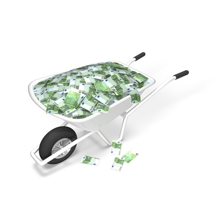 Euro Money Wheelbarrow Stock Photo - 14408502