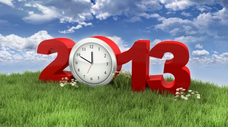 Year 2013 with Clock in the Grass under the Sky Stock Photo - 15327842