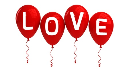 LOVE balloons, valentine, isolated, red