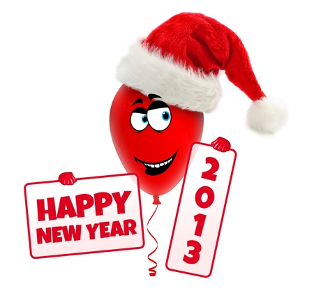 Funny christmas balloon with hat  Happy new year 2013 Stock Photo - 15327783