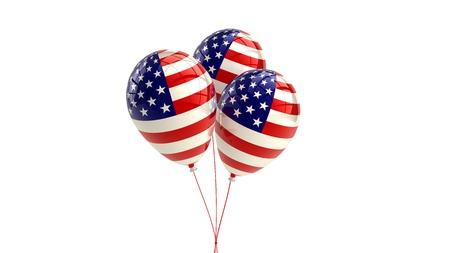 declaration of independence: Shiny Patriotic US balloons with American flag design, 4th july