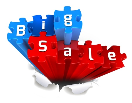 exclusive BIG SALE puzzle and torn paper Stock Photo - 15327773