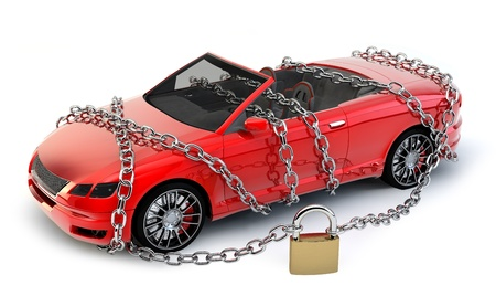 locked: NO BRAND Car protected wrapped with chain and lock