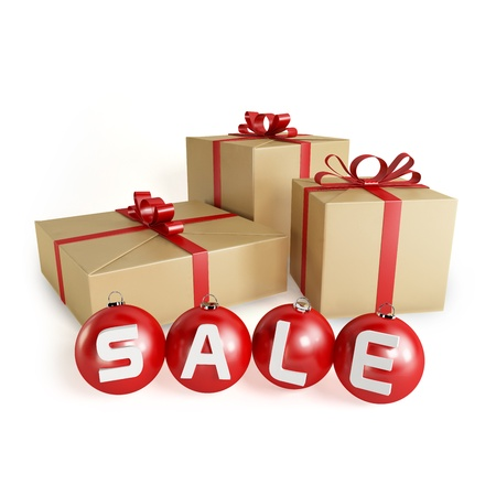 Christmas sale with gifts and balls, isolated