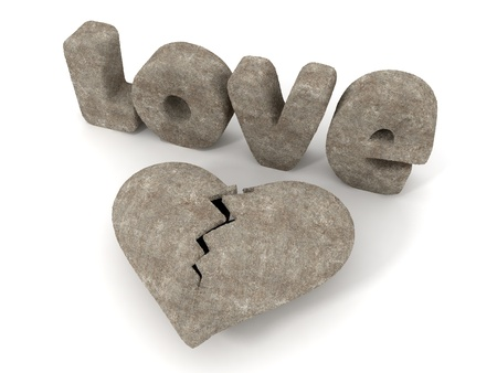 LOVE and Heart made of Stone   Concrete, valentine Stock Photo