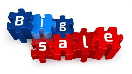 Word Big Sale puzzle letter, isolated on white background Stock Photo - 15327771