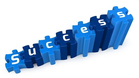 success puzzle 3d text Stock Photo - 15327766