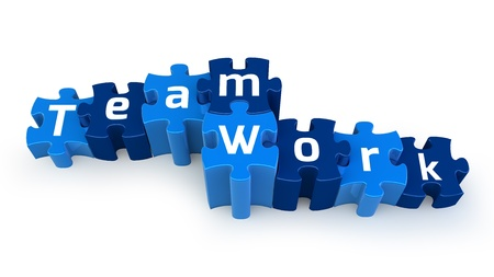Team Work puzzle text Stock Photo