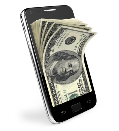 win money: Smart phone with money concept  Dollars