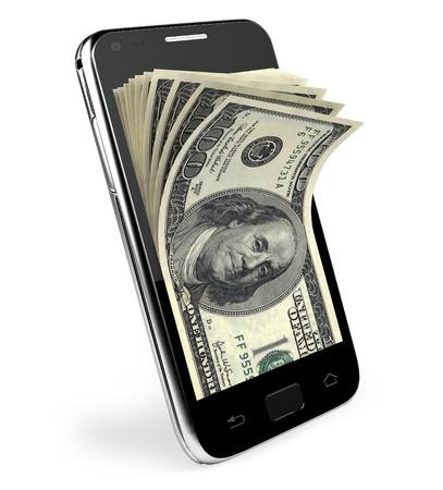 cash money: Teléfono inteligente con Dólares concepto de dinero