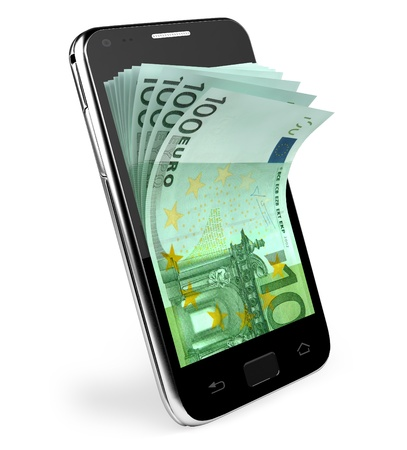 earn money: Smart phone with money concept  Euro