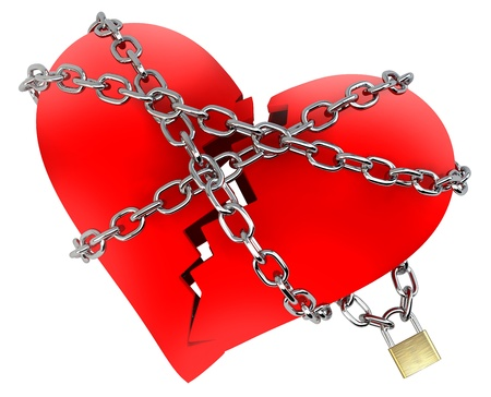 cadena rota: Rojo Corazón Roto, envuelto en cadena