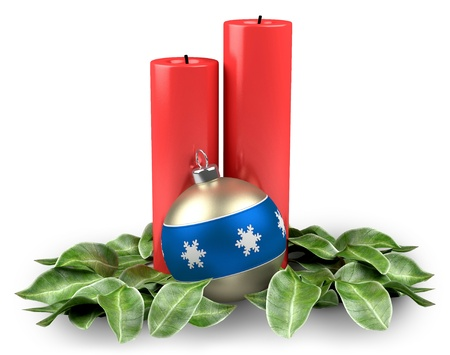 Holiday christmas candles with christmas ball