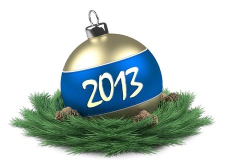 Christmas ball 2013 isolated Stock Photo