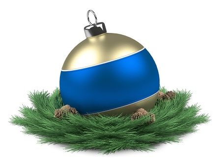 Blue Christmas ball isloated Stock Photo