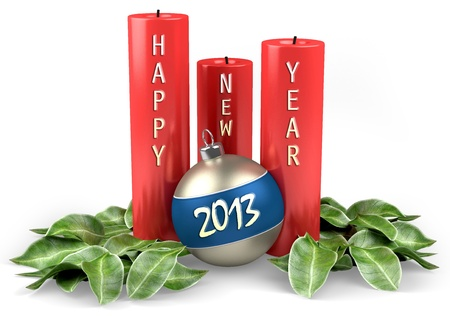 Happy New Year 2013 candles with christmas ball Stock Photo