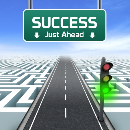 solved maze puzzle: Leadership and business vision with strategy in corporate challenges  Success road sign  Labyrinth Stock Photo