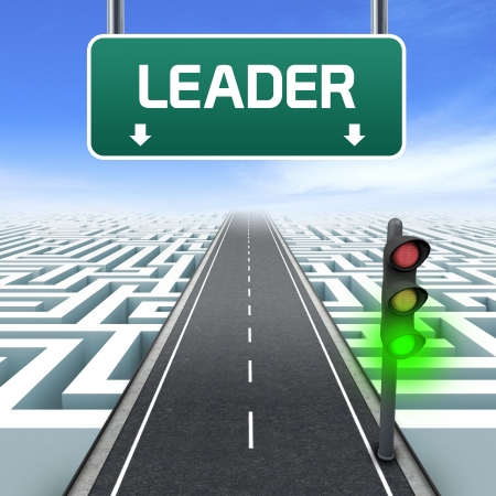 Leadership and business vision with strategy in corporate challenges  Road sign  Labyrinth Stock Photo - 15712337