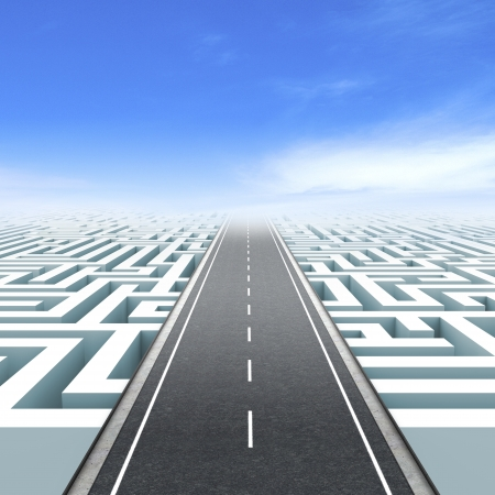 solved maze puzzle: Leadership and business vision with strategy in corporate challenges  Road to success Stock Photo