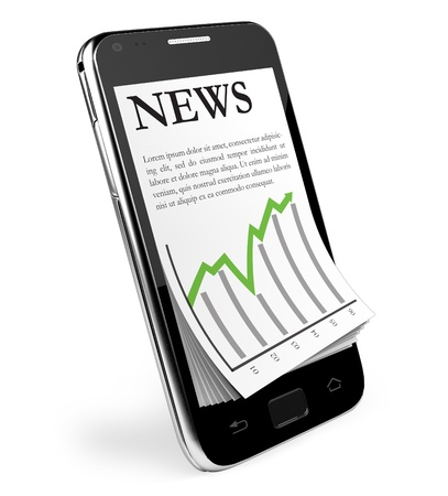 The News  Black Smartphone with open News  Isolated  Stock Photo