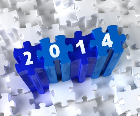 Creative 3D pieces of puzzle and year 2014