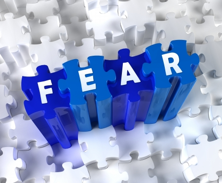 Creative 3D pieces of puzzle and word FEAR Stock Photo - 18403129