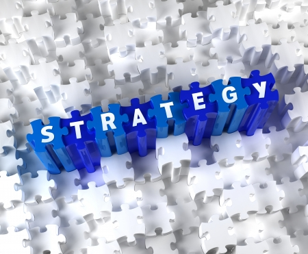 Creative 3D pieces of puzzle and word STRATEGY