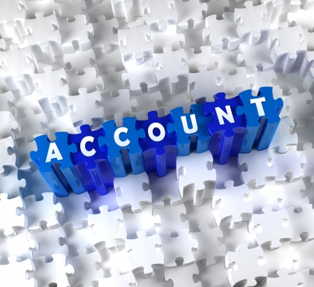 account statements: Creative 3D pieces of puzzle and word ACCOUNT