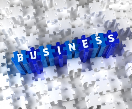 Creative 3D pieces of puzzle and word BUSINESS Stock Photo