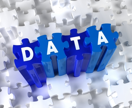 web security: Creative 3D pieces of puzzle and word DATA Stock Photo