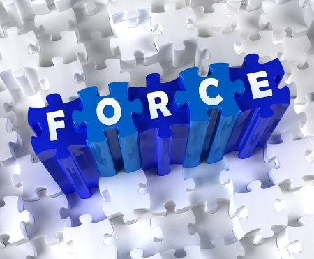 Creative 3D pieces of puzzle and word FORCE Stock Photo - 18558284