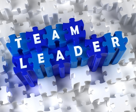 Creative 3D pieces of puzzle and word TEAM LEADER Stock Photo