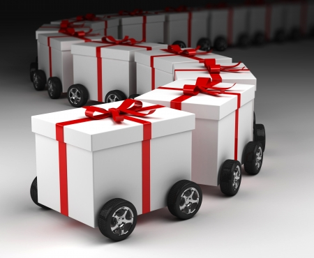Gift box convoy on wheels, concept