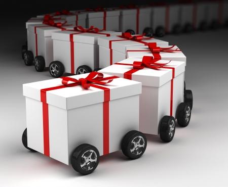 convoy: Gift box convoy on wheels, concept