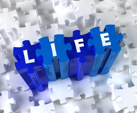 Creative 3D pieces of puzzle and word Life Stock Photo