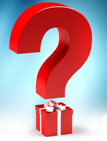 Giftbox with questionmark, surprise concept
