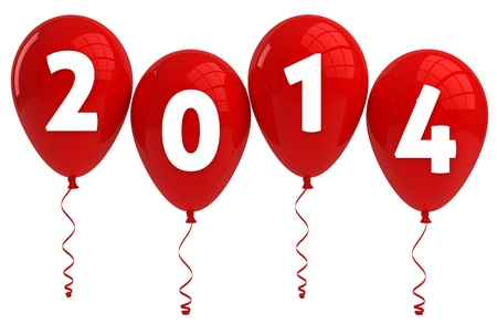 Year 2014 Red Balloons Stock Photo