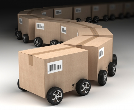 corrugated box: Shipping, logistics and delivery concept