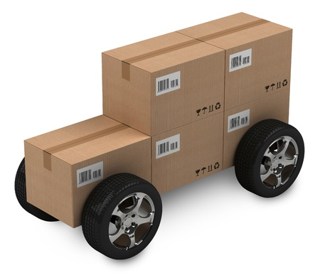 Cardboard boxes car, delivery concept