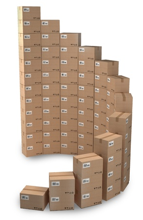 Rising sales, Cardboard boxes concept Stock Photo