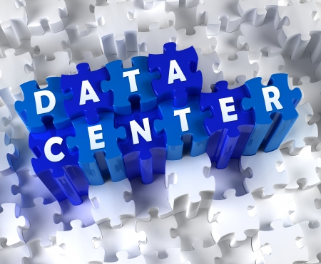 Creative 3D pieces of puzzle and word DATA CENTER