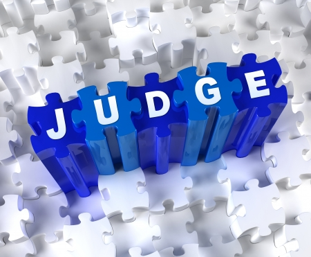 jurado: Piezas creativas en 3D del rompecabezas y de palabra JUEZ Foto de archivo