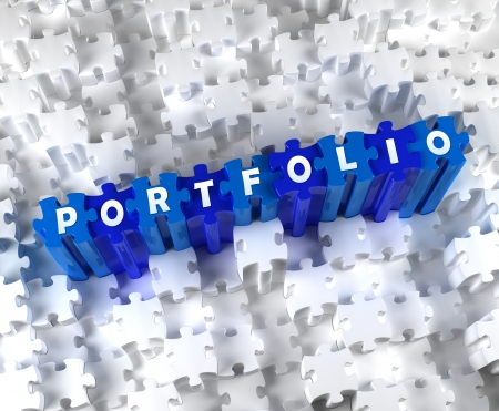 Creative 3D pieces of puzzle and word PORTFOLIO photo