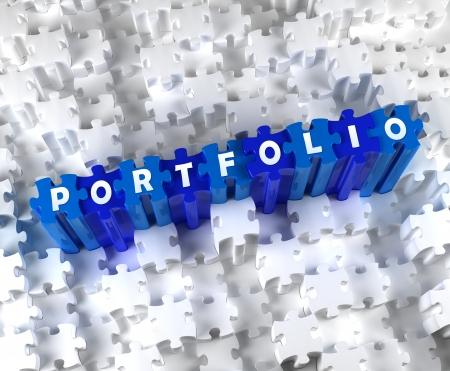 portfolios: Creative 3D pieces of puzzle and word PORTFOLIO