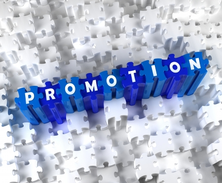Creative 3D pieces of puzzle and word PROMOTION